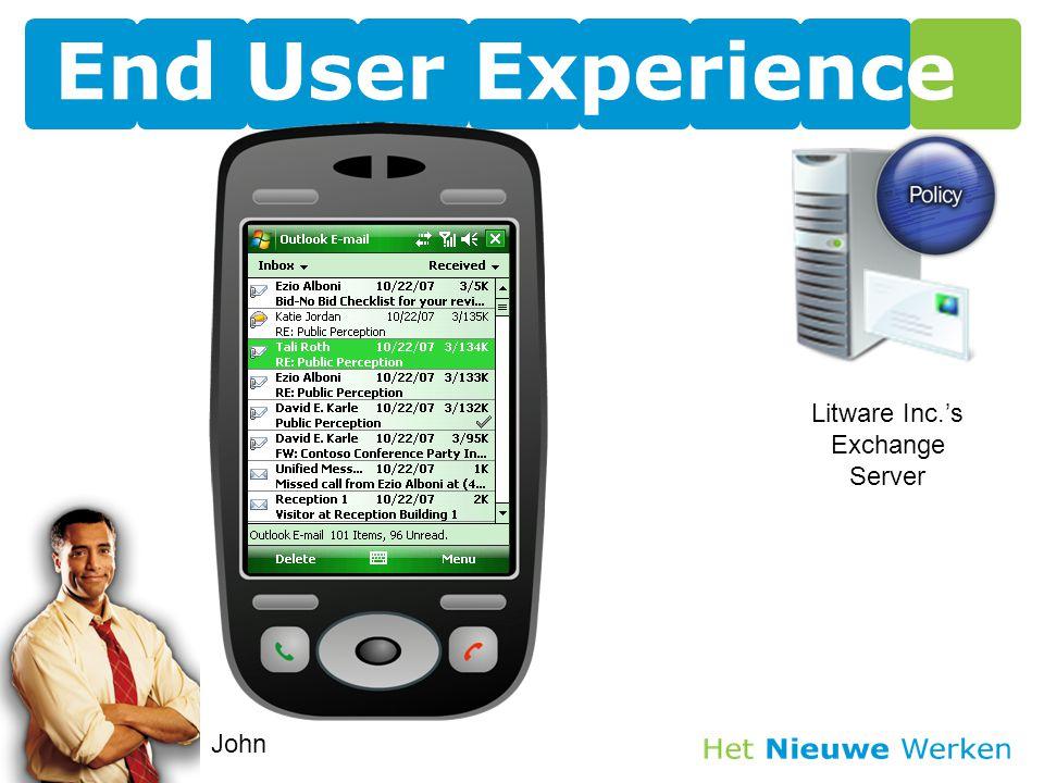 End User Experience John Litware Inc.'s Exchange Server