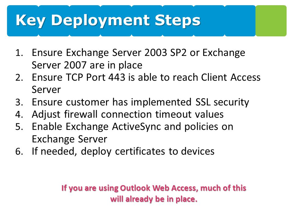 Key Deployment Steps 1. Ensure Exchange Server 2003 SP2 or Exchange Server 2007 are in place 2.