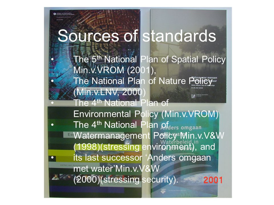 Sources of standards The 5 th National Plan of Spatial Policy Min.v.VROM (2001), The National Plan of Nature Policy (Min.v.LNV, 2000) The 4 th National Plan of Environmental Policy (Min.v.VROM) The 4 th National Plan of Watermanagement Policy Min.v.V&W (1998)(stressing environment), and its last successor 'Anders omgaan met water'Min.v.V&W (2000)(stressing security).