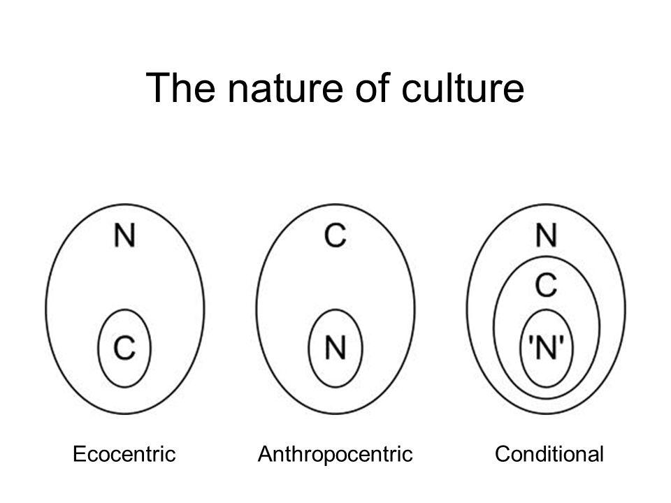 The nature of culture EcocentricAnthropocentricConditional