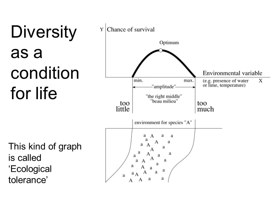 Diversity as a condition for life This kind of graph is called 'Ecological tolerance'