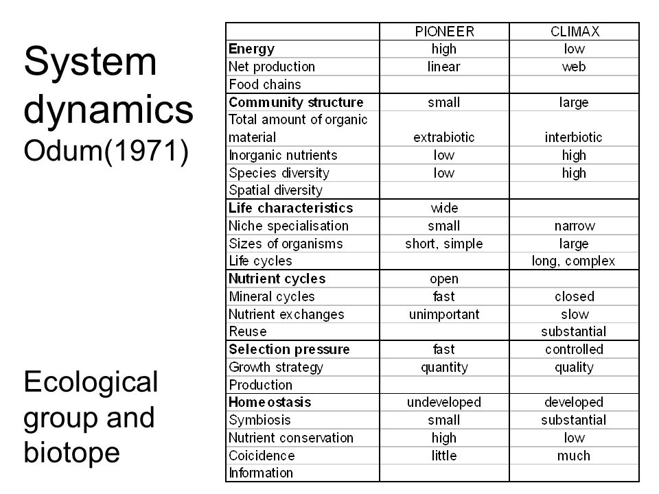 System dynamics Odum(1971) Ecological group and biotope