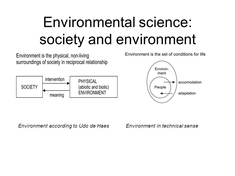 Environmental science: society and environment Environment according to Udo de HaesEnvironment in technical sense