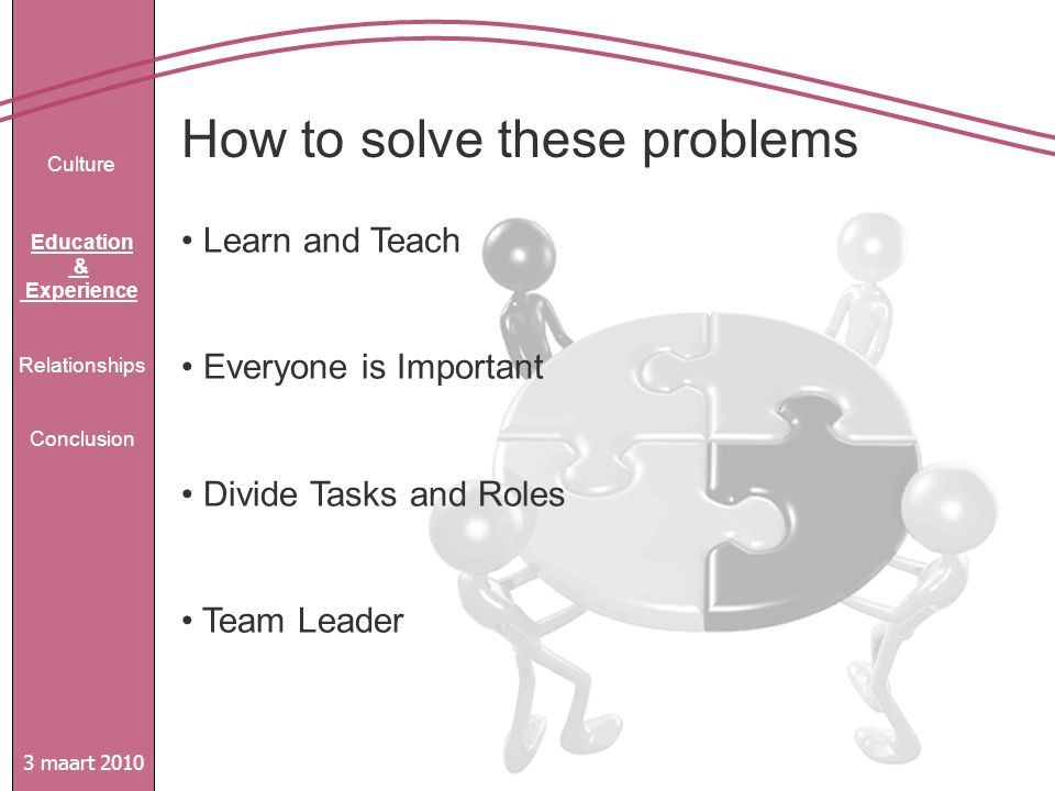 How to solve these problems 3 maart 2010 Culture Education & Experience Relationships Conclusion Learn and Teach Everyone is Important Divide Tasks and Roles Team Leader