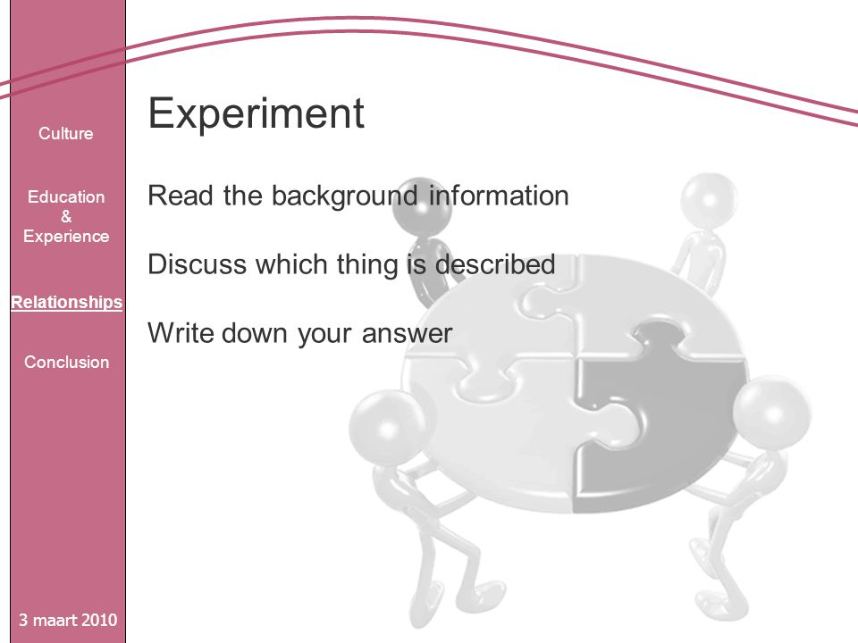 Experiment 3 maart 2010 Culture Education & Experience Relationships Conclusion Read the background information Discuss which thing is described Write down your answer
