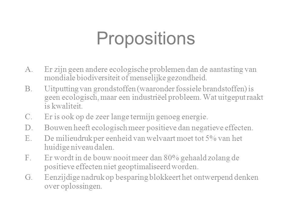 Propositions A.Er zijn geen andere ecologische problemen dan de aantasting van mondiale biodiversiteit of menselijke gezondheid. B.Uitputting van gron