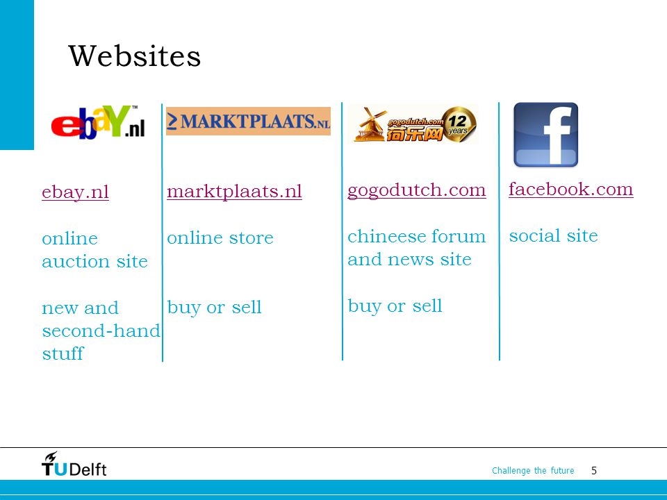 5 Challenge the future Websites ebay.nl online auction site new and second-hand stuff marktplaats.nl online store buy or sell gogodutch.com chineese forum and news site buy or sell facebook.com social site