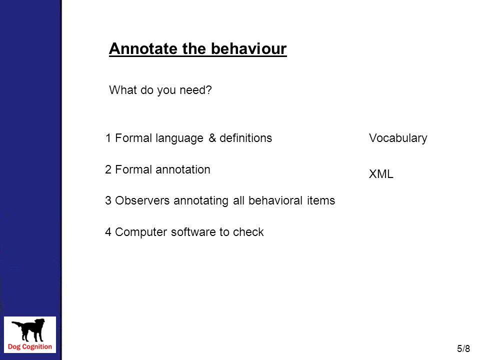 What do you need? 1 Formal language & definitions 2 Formal annotation 3 Observers annotating all behavioral items 4 Computer software to check Vocabul