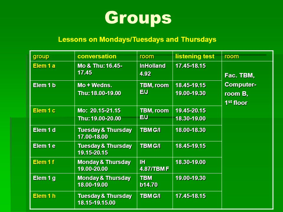Groups Lessons on Mondays/Tuesdays and Thursdays groupconversationroomlistening testroom Elem 1 a Mo & Thu: 16.45- 17.45 InHolland4.9217.45-18.15 Fac.