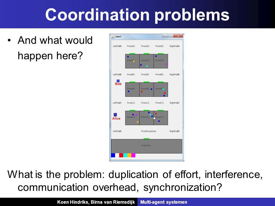 Koen Hindriks, Birna van Riemsdijk Multi-agent systemen Koen Hindriks, Birna van RiemsdijkMulti-agent systemen Coordination problems And what would happen here.