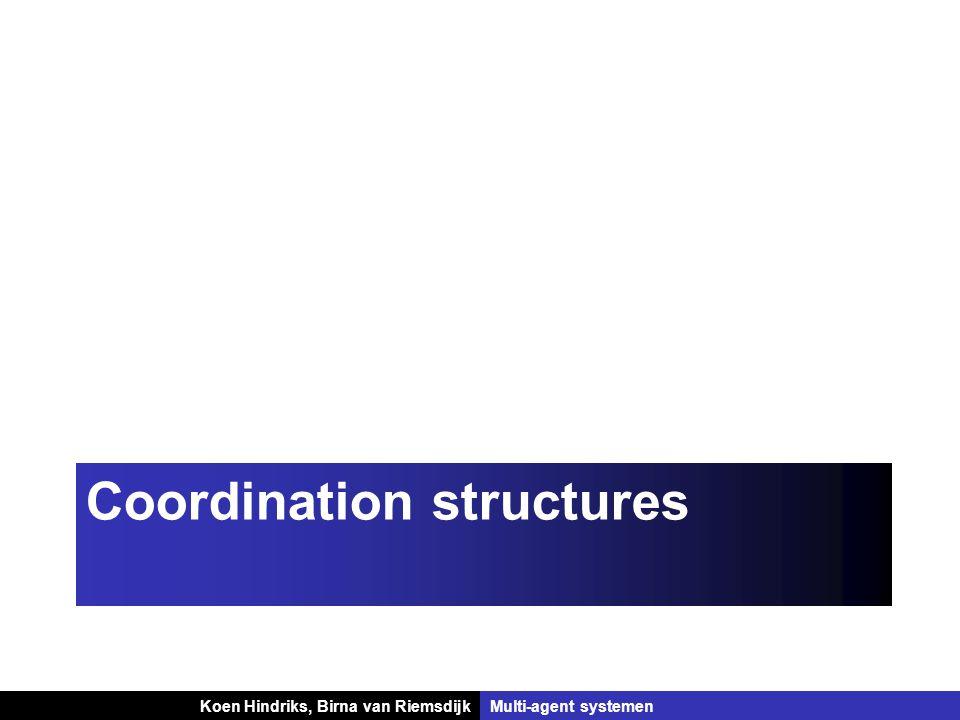 Koen Hindriks, Birna van Riemsdijk Multi-agent systemen Koen Hindriks, Birna van RiemsdijkMulti-agent systemen Coordination structures