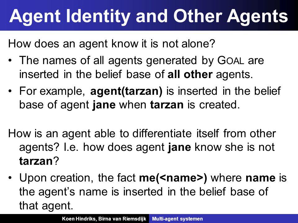 Koen Hindriks, Birna van Riemsdijk Multi-agent systemen Koen Hindriks, Birna van RiemsdijkMulti-agent systemen Agent Identity and Other Agents How does an agent know it is not alone.