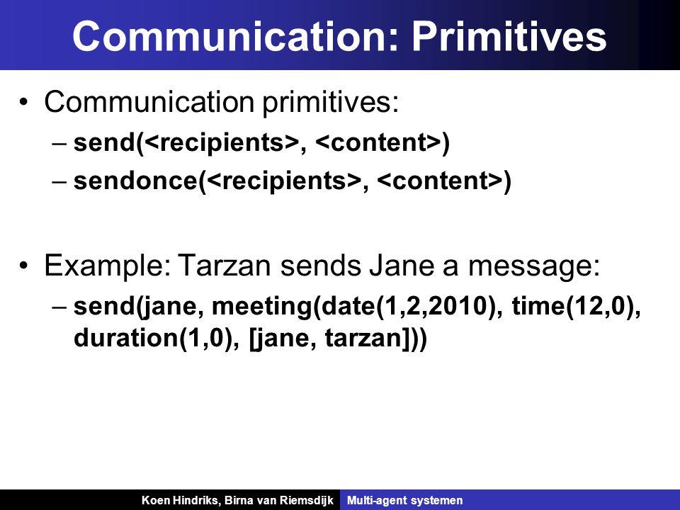 Koen Hindriks, Birna van Riemsdijk Multi-agent systemen Koen Hindriks, Birna van RiemsdijkMulti-agent systemen Communication: Primitives Communication primitives: –send(, ) –sendonce(, ) Example: Tarzan sends Jane a message: –send(jane, meeting(date(1,2,2010), time(12,0), duration(1,0), [jane, tarzan]))