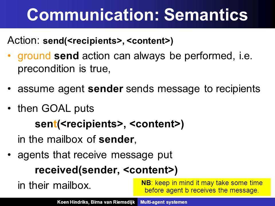 Koen Hindriks, Birna van Riemsdijk Multi-agent systemen Koen Hindriks, Birna van RiemsdijkMulti-agent systemen Communication: Semantics Action: send(, ) ground send action can always be performed, i.e.