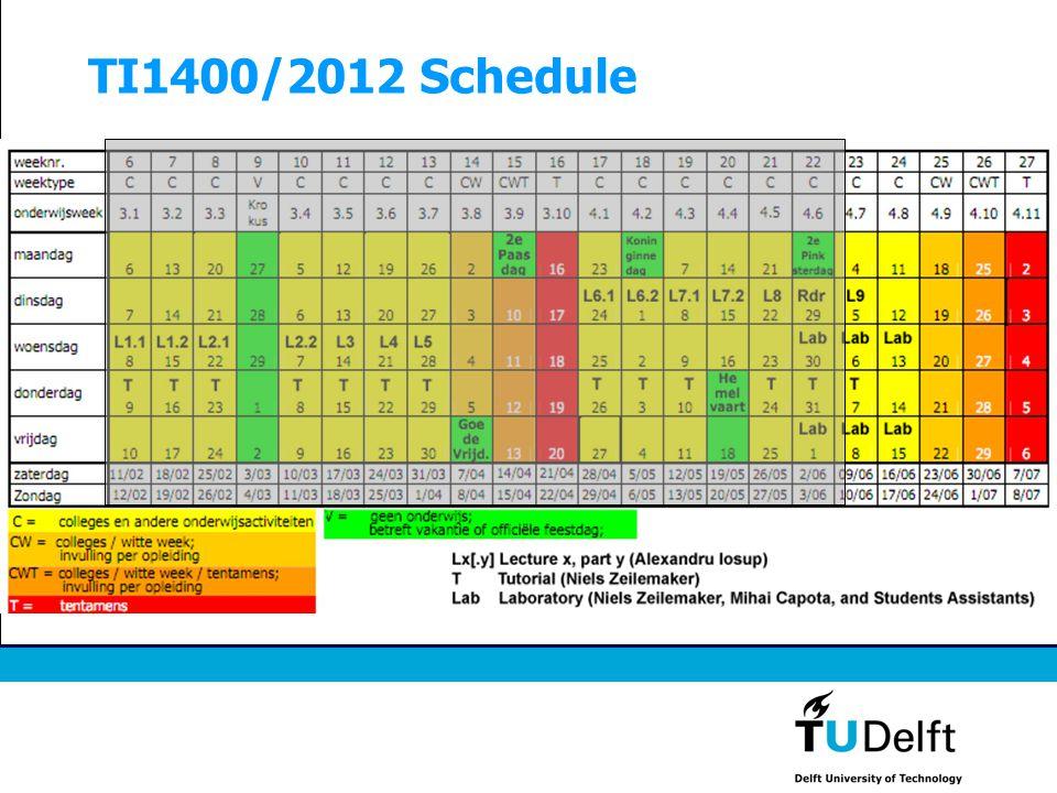 TI1400/2012 Schedule