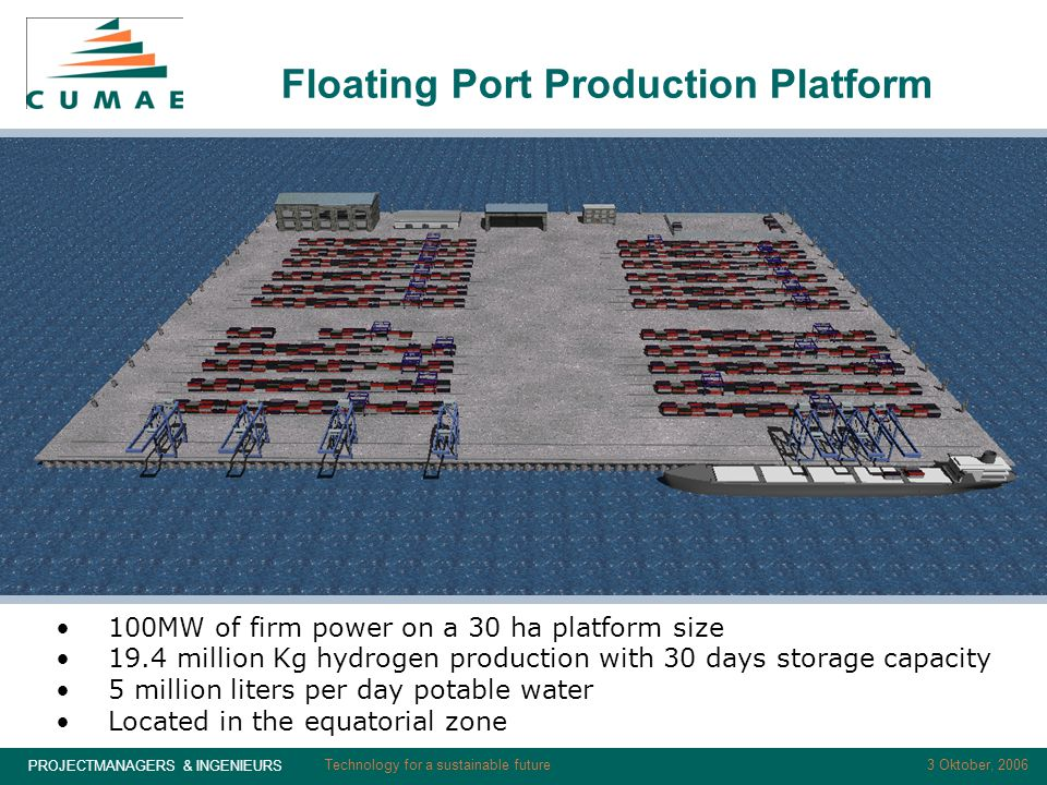 PROJECTMANAGERS & INGENIEURS 3 Oktober, 2006Technology for a sustainable future Floating Port Production Platform 100MW of firm power on a 30 ha platform size 19.4 million Kg hydrogen production with 30 days storage capacity 5 million liters per day potable water Located in the equatorial zone
