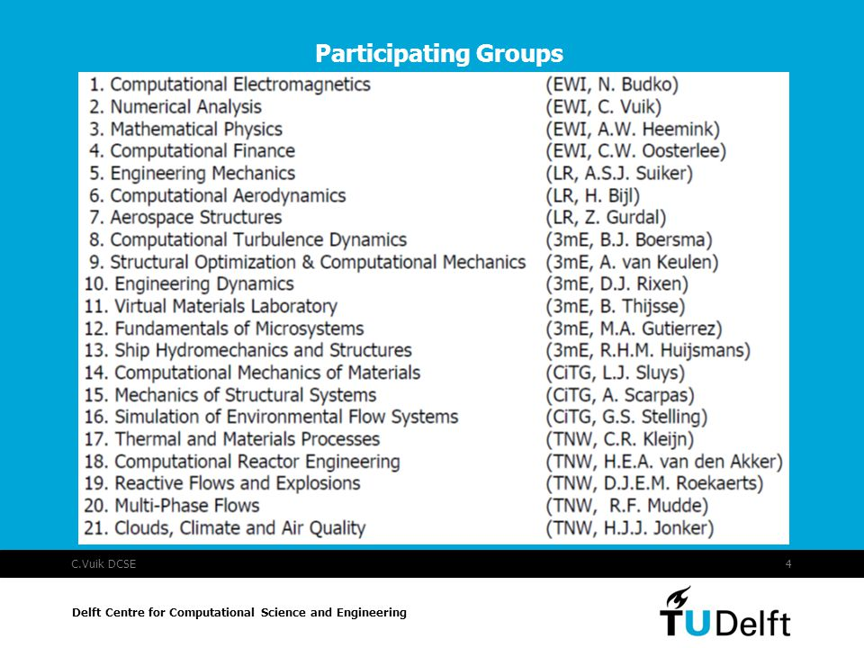 C.Vuik DCSE4 Participating Groups Delft Centre for Computational Science and Engineering