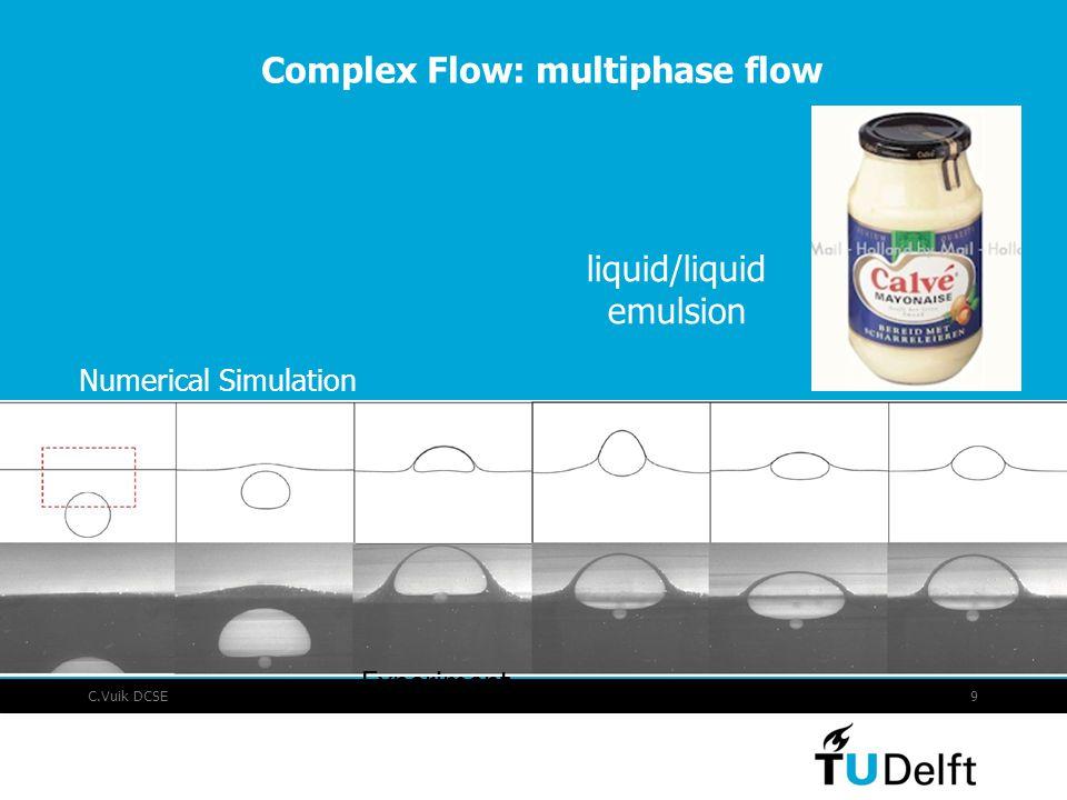 C.Vuik DCSE9 Complex Flow: multiphase flow liquid/liquid emulsion Numerical Simulation Experiment