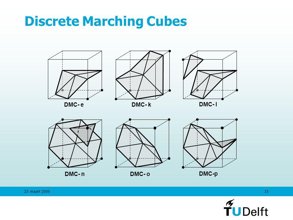 23 maart 200615 Discrete Marching Cubes DMC- nDMC- o DMC- eDMC- k DMC- l DMC-p