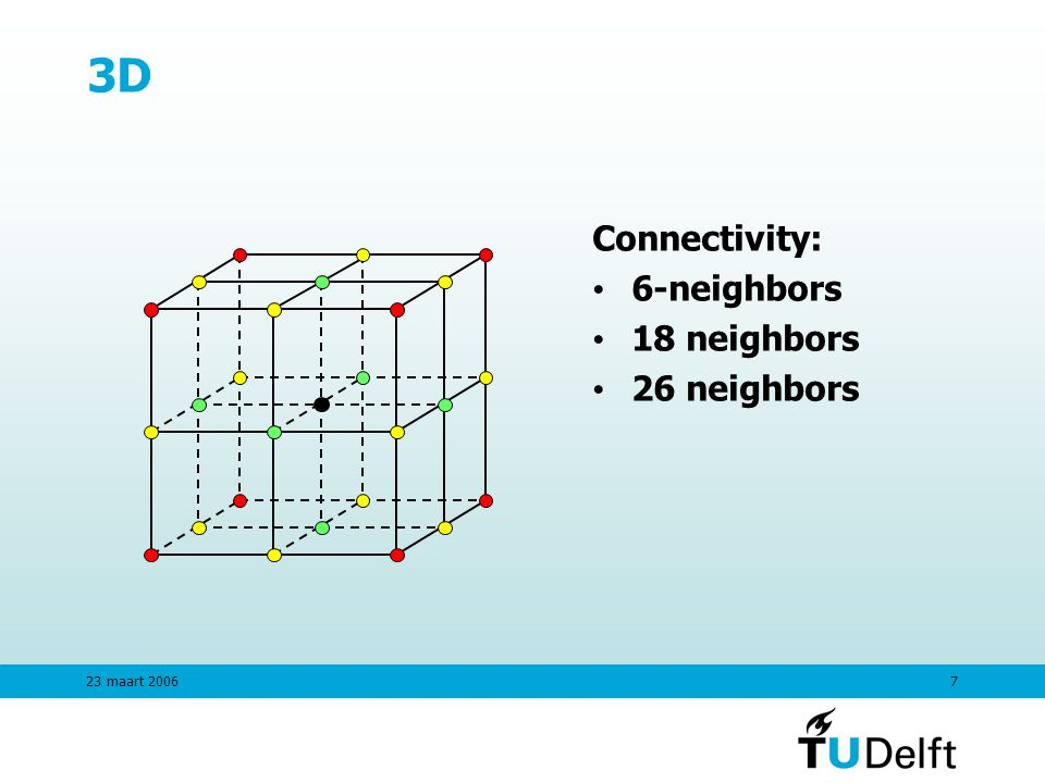 23 maart D Connectivity: 6-neighbors 18 neighbors 26 neighbors