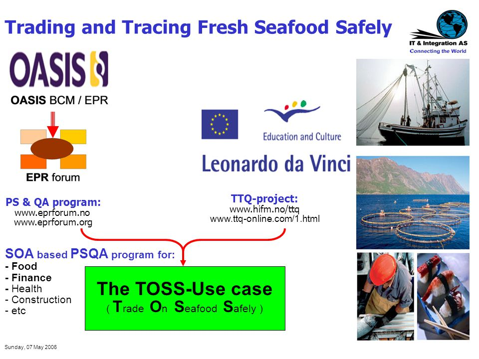 Sunday, 07 May 2006 Trading and Tracing Fresh Seafood Safely TTQ-project: www.hifm.no/ttq www.ttq-online.com/1.html PS & QA program: www.eprforum.no w