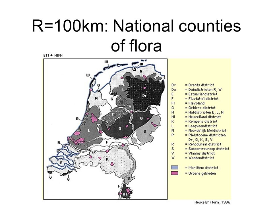 R=100km: National counties of flora