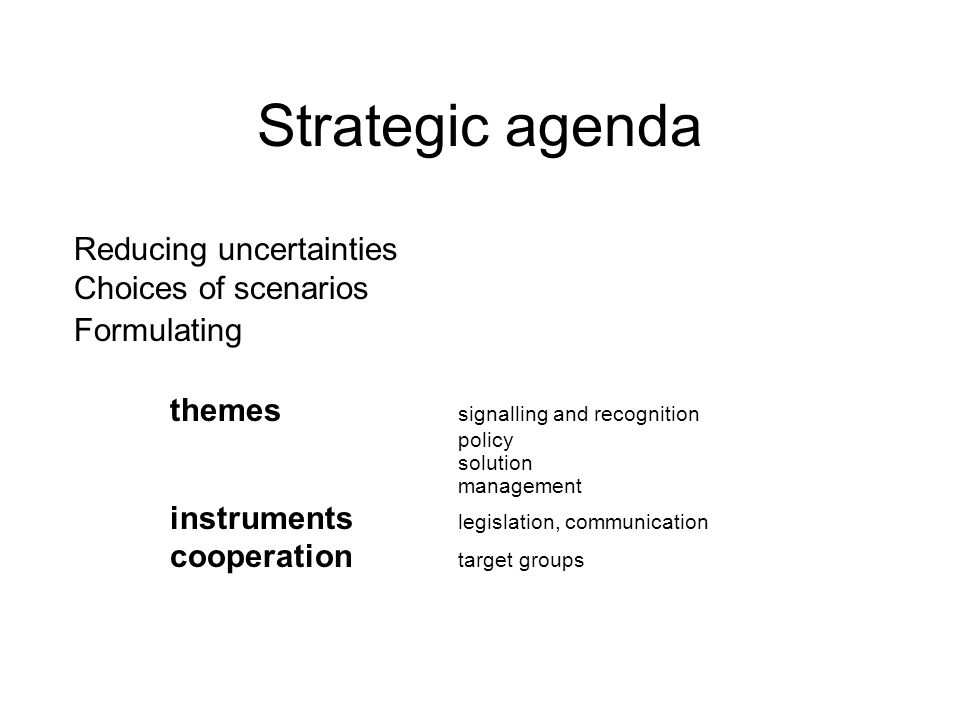 Strategic agenda Reducing uncertainties Choices of scenarios Formulating themes signalling and recognition policy solution management instruments legislation, communication cooperation target groups