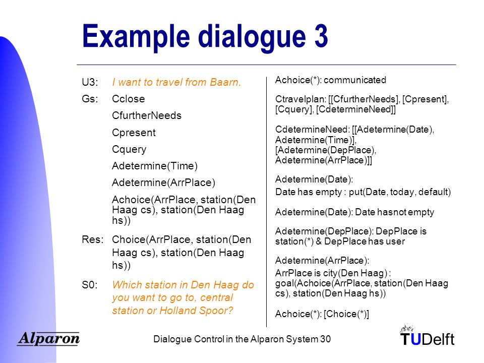 TUDelft Dialogue Control in the Alparon System 30 Example dialogue 3 U3:I want to travel from Baarn.