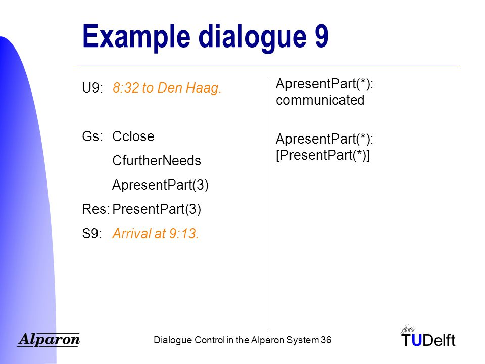 TUDelft Dialogue Control in the Alparon System 36 Example dialogue 9 U9:8:32 to Den Haag.