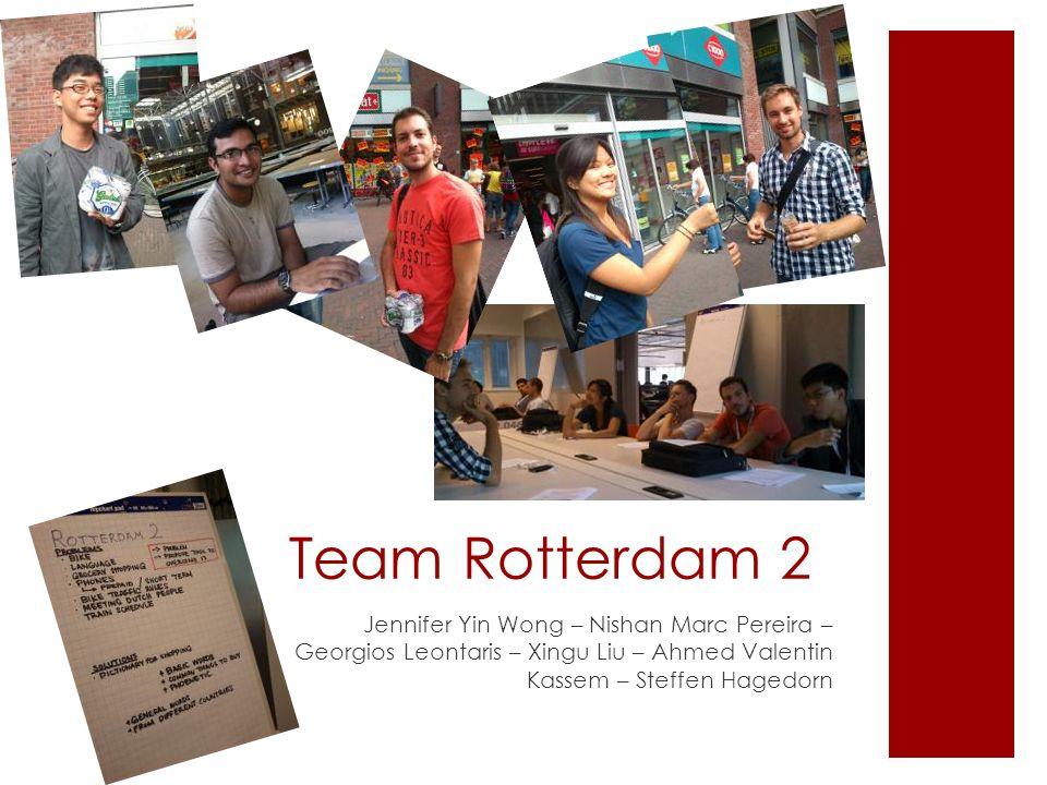 Team Rotterdam 2 Jennifer Yin Wong – Nishan Marc Pereira – Georgios Leontaris – Xingu Liu – Ahmed Valentin Kassem – Steffen Hagedorn