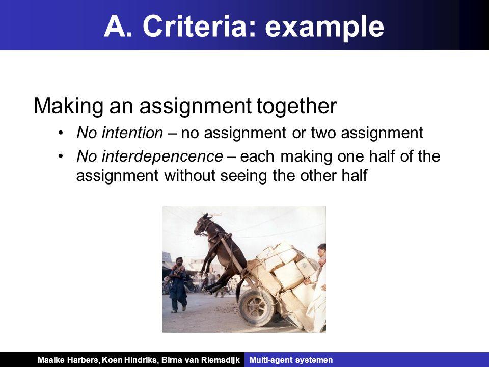 Koen Hindriks, Birna van Riemsdijk Multi-agent systemen Koen Hindriks, Birna van RiemsdijkMulti-agent systemen A. Criteria: example Making an assignme