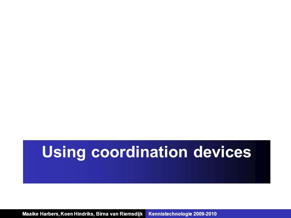 Koen Hindriks, Birna van Riemsdijk Multi-agent systemen Koen Hindriks, Birna van RiemsdijkKennistechnologie 2009-2010 Using coordination devices Maaik