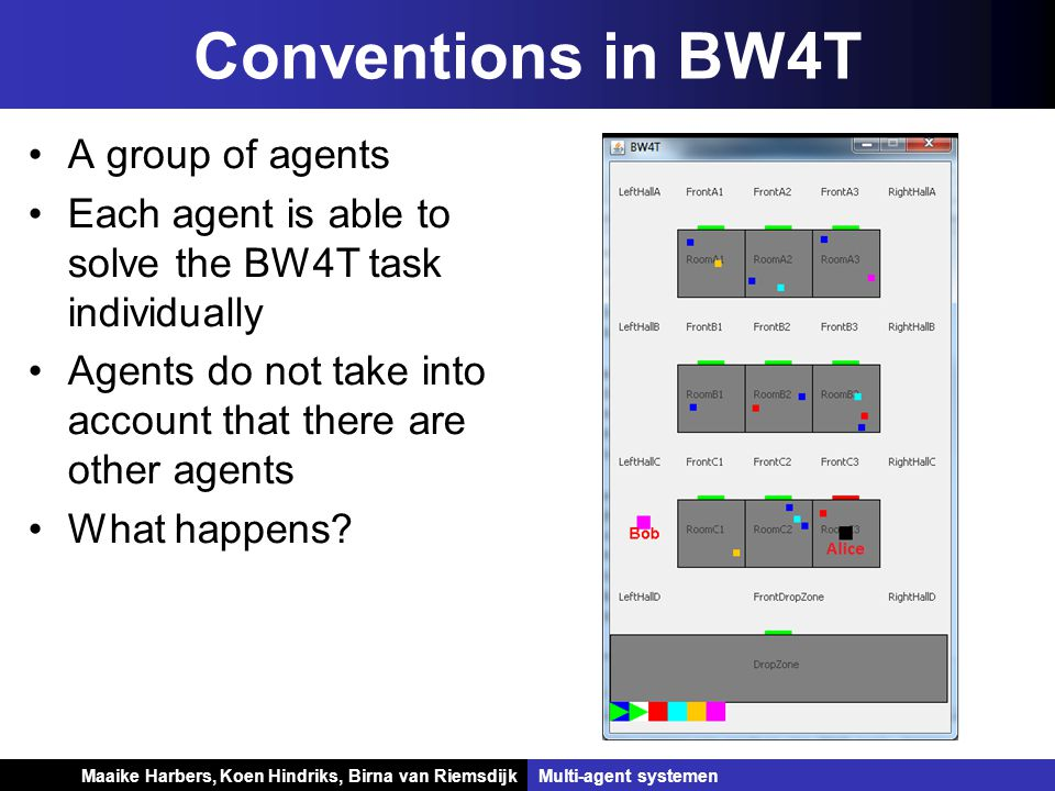 Koen Hindriks, Birna van Riemsdijk Multi-agent systemen Koen Hindriks, Birna van RiemsdijkMulti-agent systemen A group of agents Each agent is able to solve the BW4T task individually Agents do not take into account that there are other agents What happens.