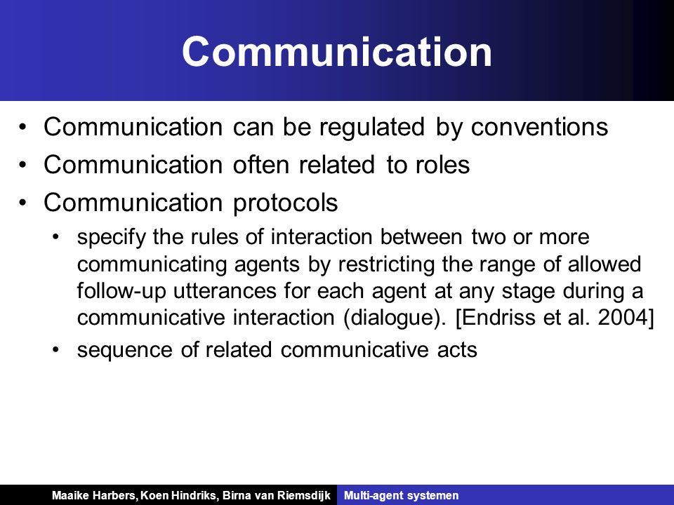 Koen Hindriks, Birna van Riemsdijk Multi-agent systemen Koen Hindriks, Birna van RiemsdijkMulti-agent systemen Communication Communication can be regu