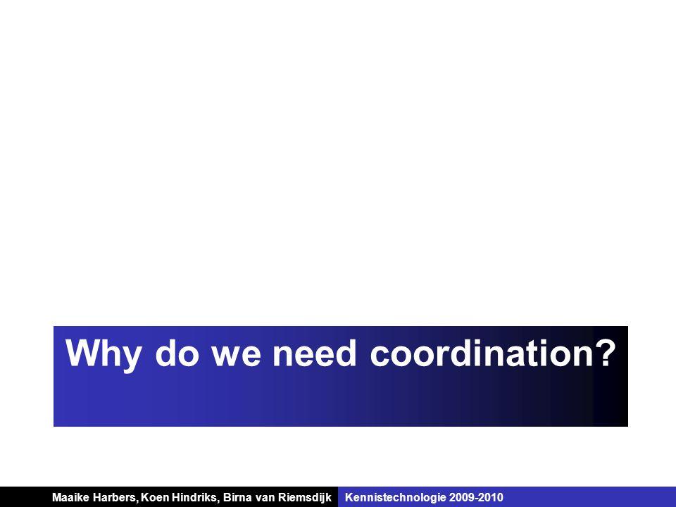 Koen Hindriks, Birna van Riemsdijk Multi-agent systemen Koen Hindriks, Birna van RiemsdijkKennistechnologie 2009-2010 Why do we need coordination? Maa