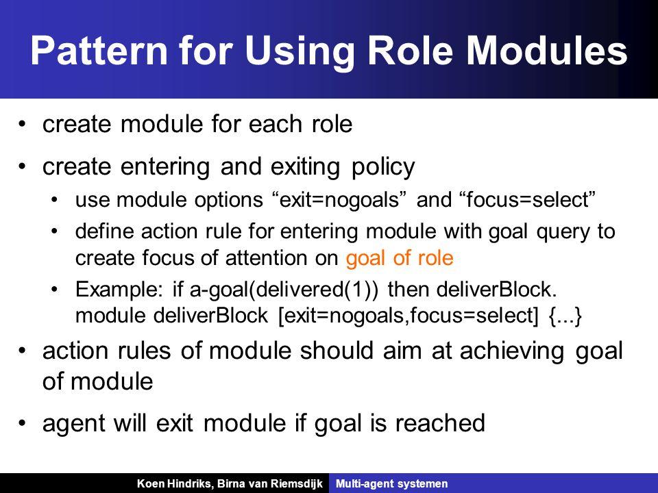 Koen Hindriks, Birna van Riemsdijk Multi-agent systemen Koen Hindriks, Birna van RiemsdijkMulti-agent systemen Pattern for Using Role Modules create m