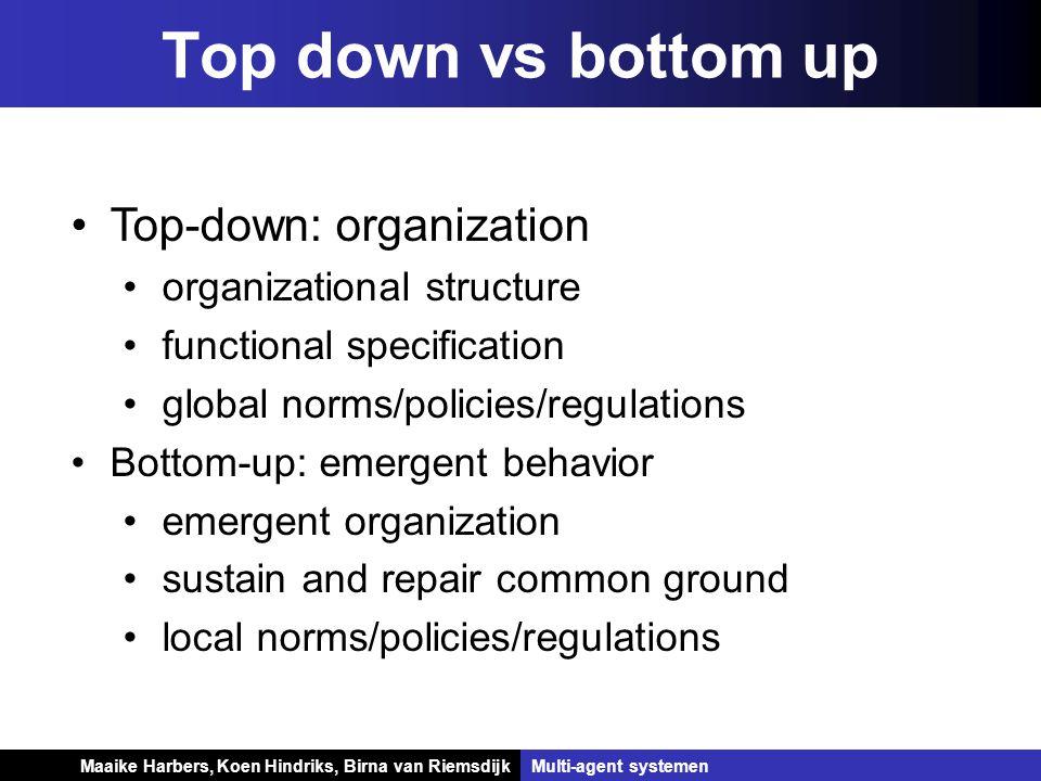 Koen Hindriks, Birna van Riemsdijk Multi-agent systemen Koen Hindriks, Birna van RiemsdijkMulti-agent systemen Top down vs bottom up Top-down: organiz