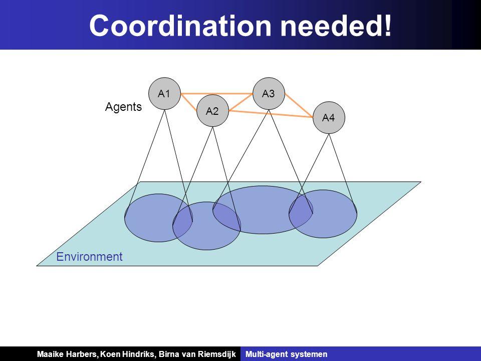 Koen Hindriks, Birna van Riemsdijk Multi-agent systemen Koen Hindriks, Birna van RiemsdijkMulti-agent systemen Coordination needed! Environment A1 Age