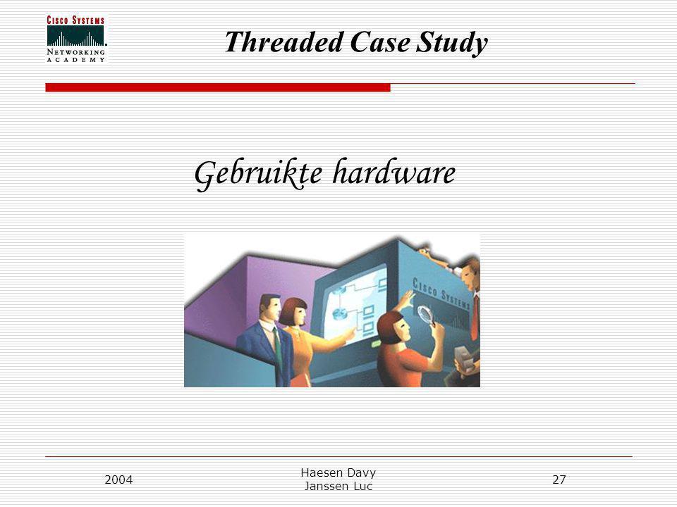 Threaded Case Study 2004 Haesen Davy Janssen Luc 27 Gebruikte hardware