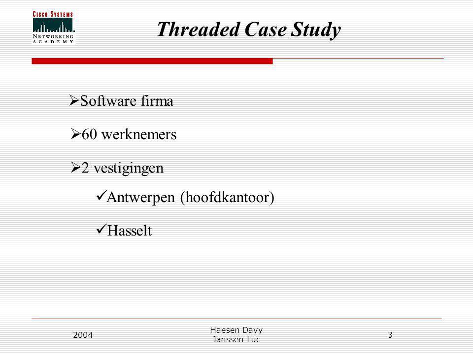 Threaded Case Study 2004 Haesen Davy Janssen Luc 3  Software firma  60 werknemers  2 vestigingen Antwerpen (hoofdkantoor) Hasselt