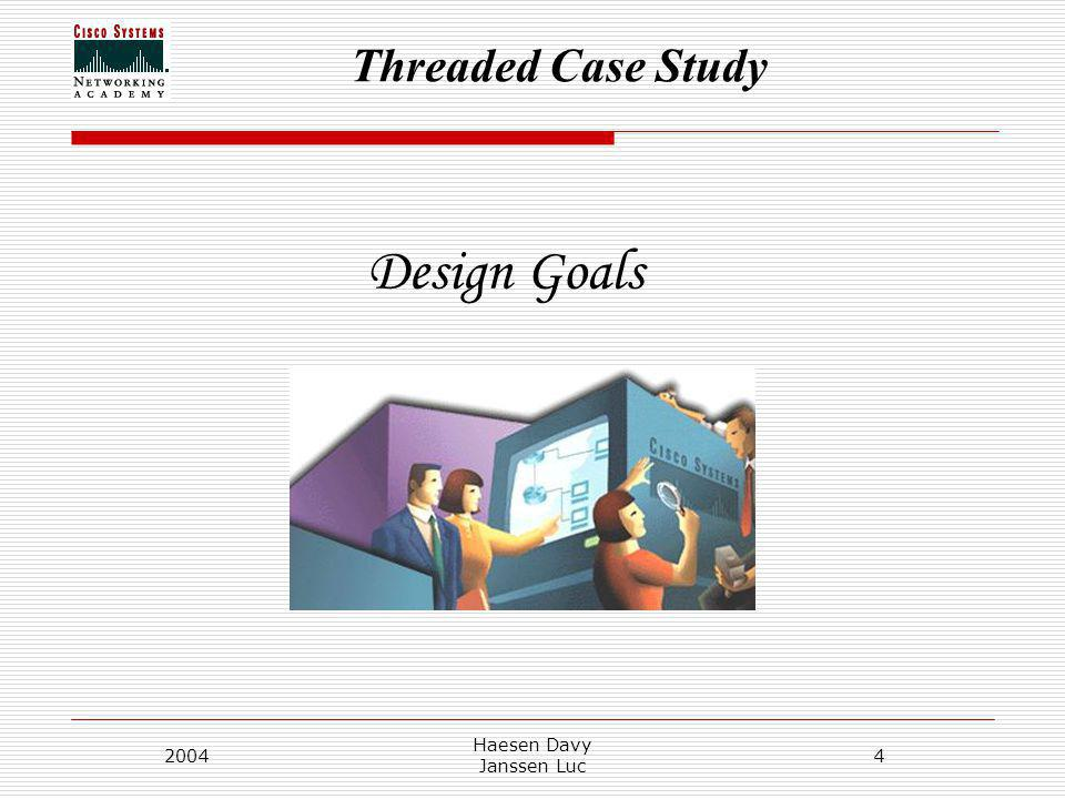 Threaded Case Study 2004 Haesen Davy Janssen Luc 4 Design Goals