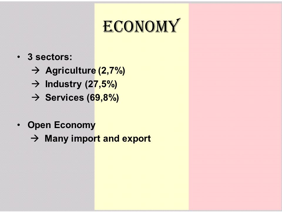 Economy 3 sectors:  Agriculture (2,7%)  Industry (27,5%)  Services (69,8%) Open Economy  Many import and export