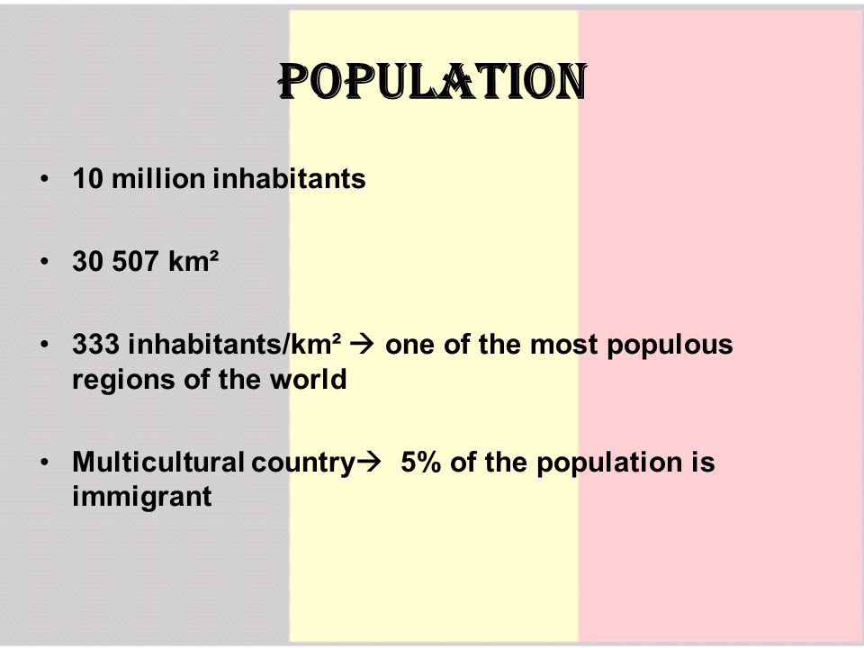 PopulaTion 10 million inhabitants 30 507 km² 333 inhabitants/km²  one of the most populous regions of the world Multicultural country  5% of the population is immigrant
