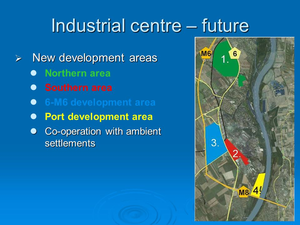 Industrial centre – future  New development areas Northern area Southern area 6-M6 development area Port development area Co-operation with ambient settlements Co-operation with ambient settlements