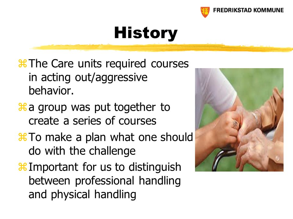 History zThe Care units required courses in acting out/aggressive behavior.