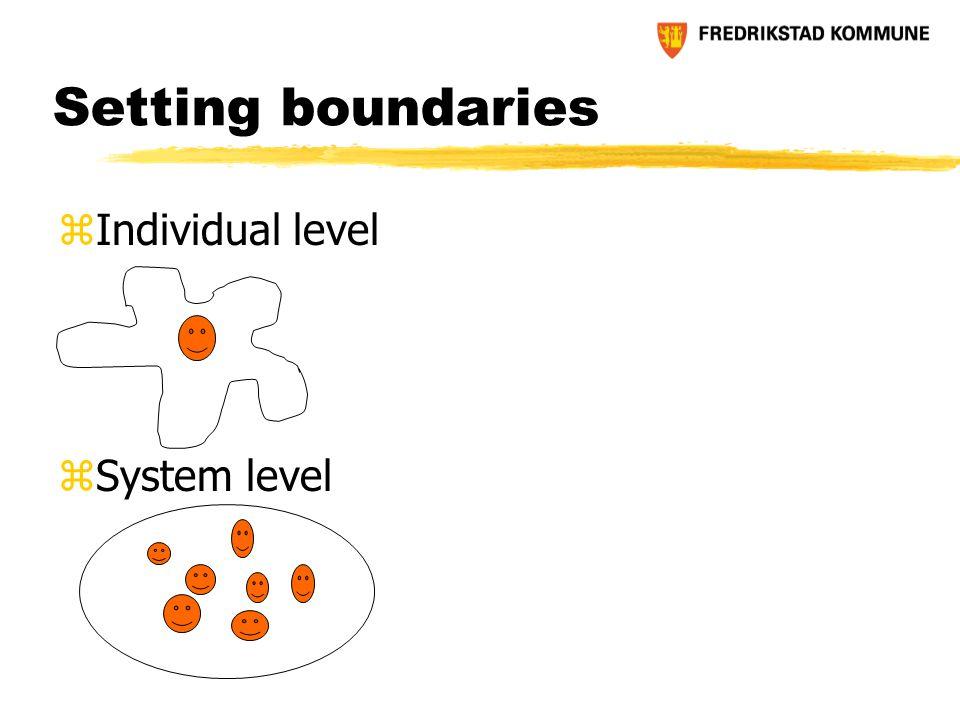 Setting boundaries zIndividual level zSystem level