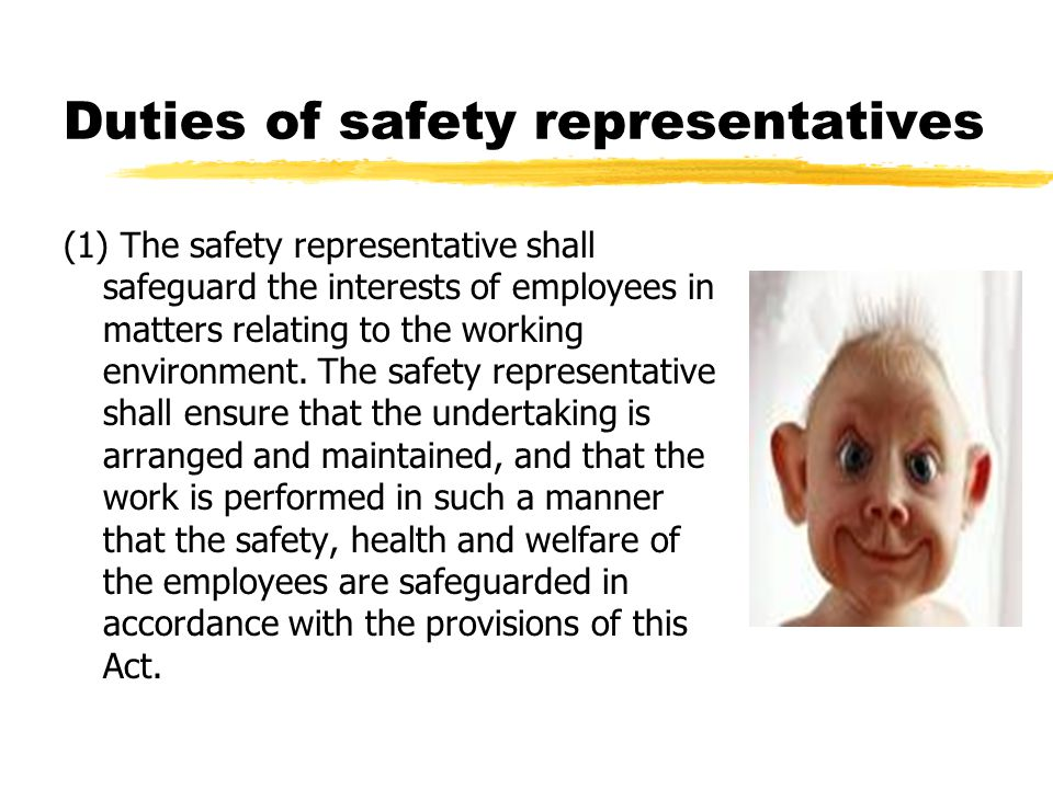 Duties of safety representatives (1) The safety representative shall safeguard the interests of employees in matters relating to the working environme