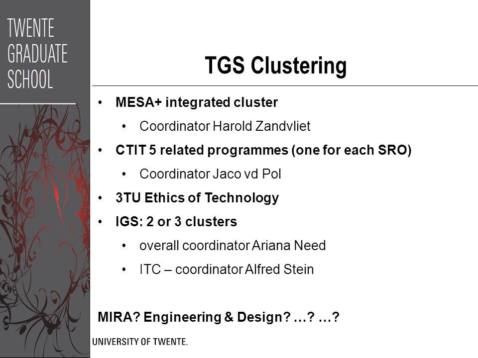 TGS Clustering MESA+ integrated cluster Coordinator Harold Zandvliet CTIT 5 related programmes (one for each SRO) Coordinator Jaco vd Pol 3TU Ethics o