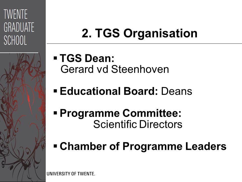 2. TGS Organisation  TGS Dean: Gerard vd Steenhoven  Educational Board: Deans  Programme Committee: Scientific Directors  Chamber of Programme Lea