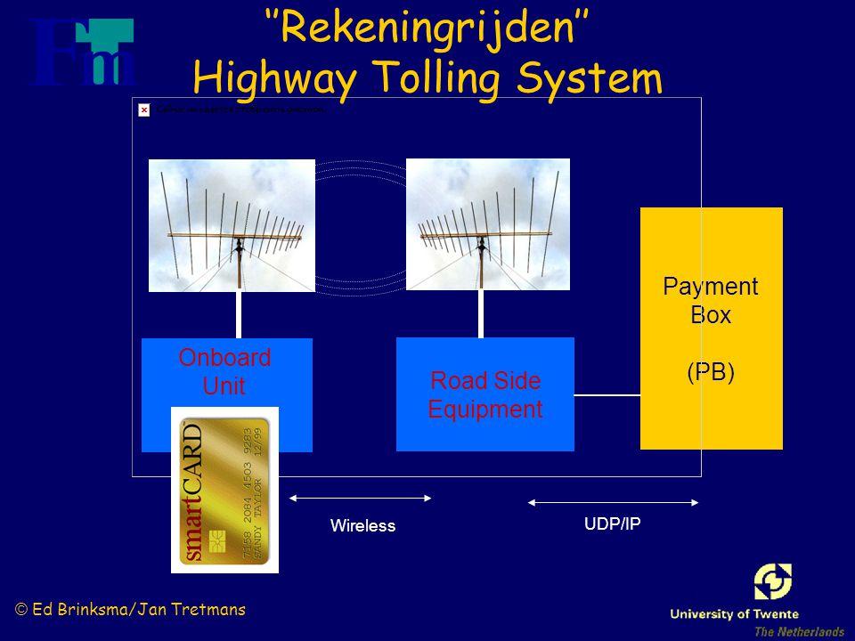 © Ed Brinksma/Jan Tretmans Payment Box (PB) Road Side Equipment Onboard Unit UDP/IP Wireless ''Rekeningrijden'' Highway Tolling System